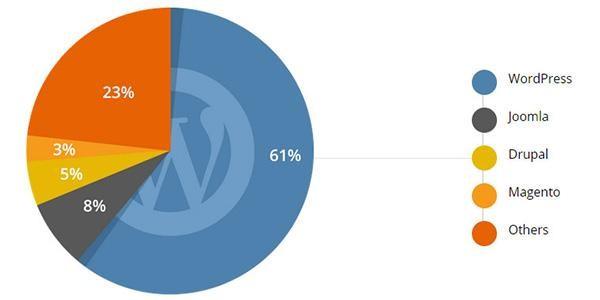 Wordpress popularity CMS Market Share